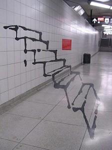 optische Illusion - Treppen aus Wand